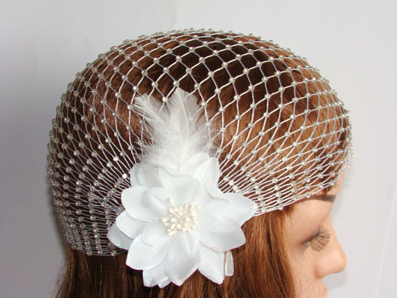 Boda - Bridal Cap Veil, 1920's Vintage Flower Bridal Veil, Wedding Hair Accessory, Bridal Vintage Cap