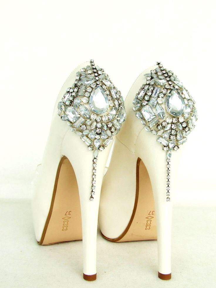 Cinderellau0027s Dream Shoes   Swarovski Wedding Shoes   Silver Bling Ivory Bridal  Shoes Ideas