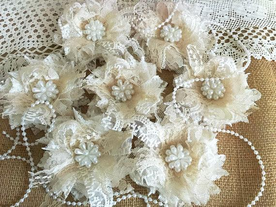 Wedding - 7 shabby chic ivory and honey color lace handmade flowers