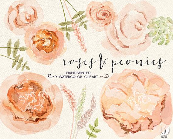 Mariage - Watercolor peonies, juliet roses, hand painted anemones, ranunculus, wedding flowers, peach bouquet florals, clipart, watercolour invitation