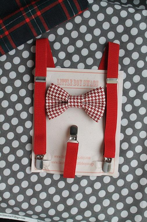 Red Houndstooth Bow Tie Red Suspenders..Valentines Day..Wedding..Ring  Bearer Outfit..Groomsman..Baby Clothing..Kids Outfits..Baby Boy Bowtie