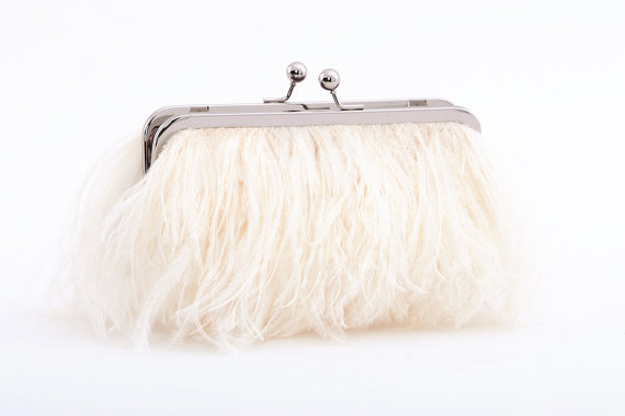 Свадьба - Ostrich Feather Bridal Clutch -silver frame- Ivory, wedding clutch, custom, monogram