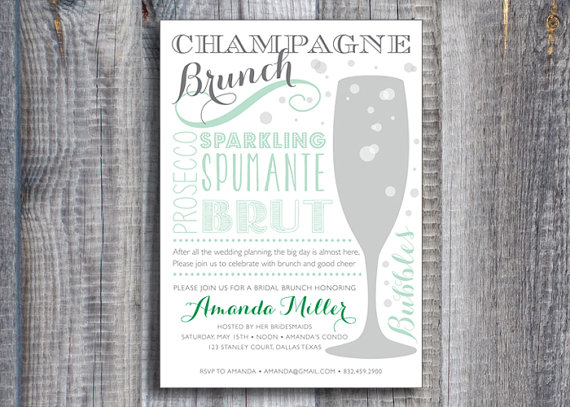 f36e5fe6fc33 Champagne Brunch   Custom Color   Printable Bridal Shower Invitation ...