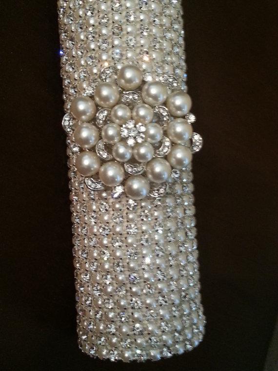 Mariage - Rhinestone & Pearl Bridal Bouquet Holder, Rhinestone Bouquet Cuff
