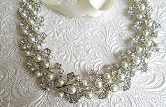 Mariage - Ribbon Wedding Sash, ivory Pearl sash, Wedding dress sash, Ribbon bridal belt, Ivory Ribbon Sash, Pearl ribbon sash,  Pearl bridal belt