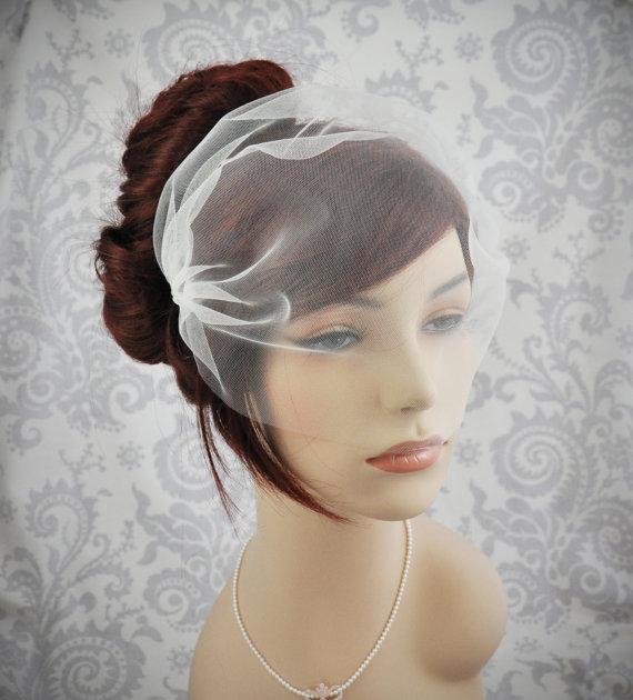Mariage - Bandeau Veil - Tulle Bandeau veil in ivory, white veil, off-white veil, champagne veil, blush veil - 115BC