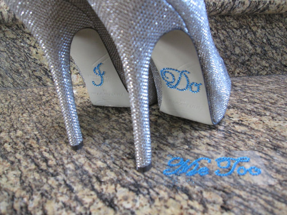 """Mariage - Something Blue """"I Do""""  and """"Me Too"""" Wedding Shoe Stickers."""