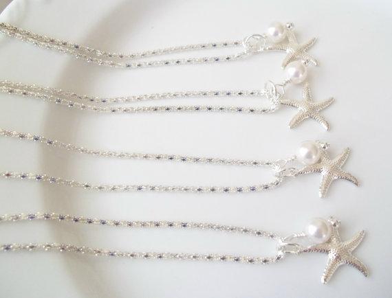 Mariage - Set of 4 Bridesmaid Necklaces,Swarovski Pearls Silver Starfish, Beach Nautical Wedding Jewelry,Bridesmaids Starfish Necklaces,Set of Four