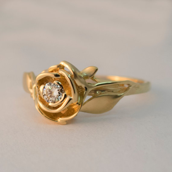 Rose engagement ring no3 14k gold and diamond engagement ring rose engagement ring no3 14k gold and diamond engagement ring engagement ring leaf ring flower ring antique art nouveau vintage mightylinksfo