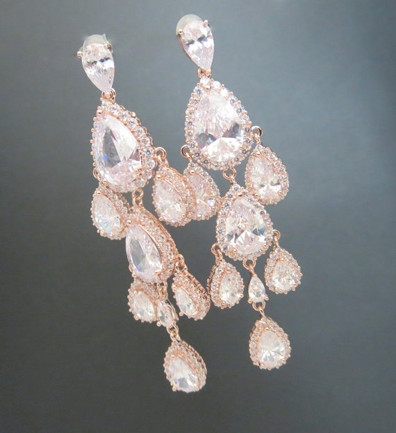 Rose Gold Chandelier Earrings Bridal Wedding Crystal Jewelry Long