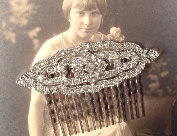 Art Deco Hair Comb Clear Pave Rhinestone Silver Bridal 1920s Headpiece Great Gatsby Brooch To Accessory Vintage Wedding