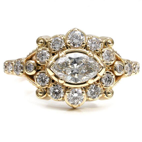 Wedding - Marquise Diamond Belle Epoque Romantic Engagement Ring - 18k Yellow Gold Handmade Wedding Ring