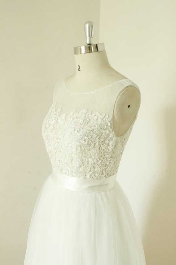 Mariage - A-line Sex sheer ivory wedding dress, lace tulle wedding gown, mesh wedding dress, beach destination wedding dress
