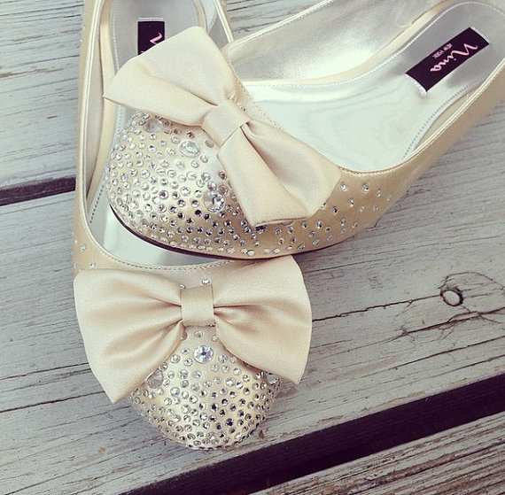 Champagne Jolie Bridal Ballet Flats Wedding Shoes