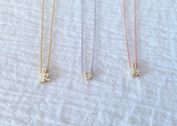 Mariage - Dainty Lowercase Gold Initial Necklace w Gold, Silver, Rose Gold Chain, Dainty Cursive Initial Necklace, Holiday Gift, Bridesmaid Gift