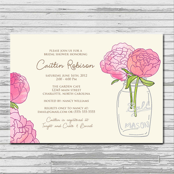 Wedding - Mason Jar Pink Peony Flower Bridal Shower Invitation - customized 5x7 printable - rustic flower print bridal shower invites
