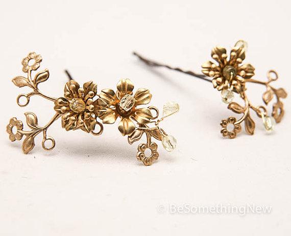 Wedding - Vintage Fower Bobbie Pins, Brass and Gold Flower Hair Accessories, Wedding Hair, Vintage Wedding Hair