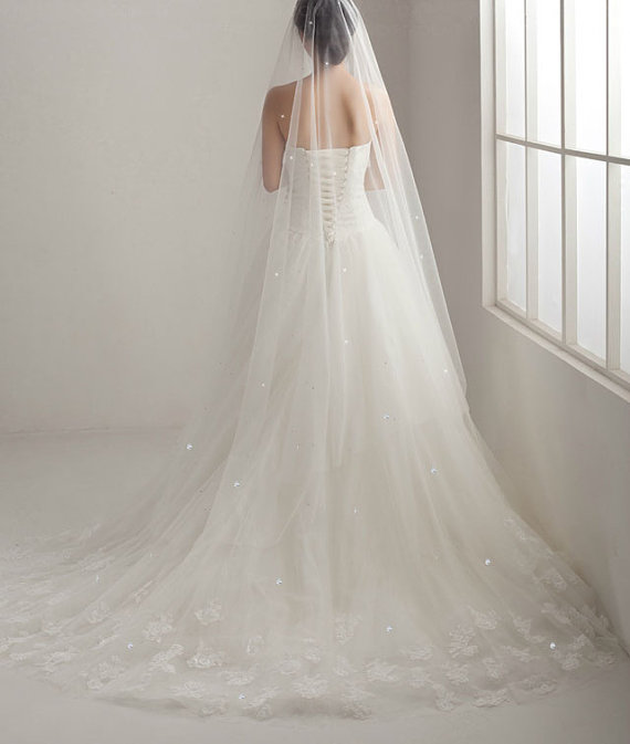 Mariage - Swarovski Crystal Scattered Soft Bridal illusion Tulle Veil, Chapel Cathedral Length Wedding Veil, Ivory Sheer Drop Veil hair accessories