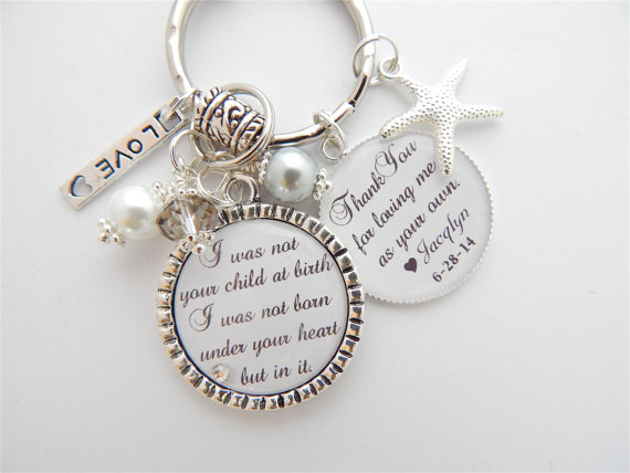 Thank You Wedding Gifts For Mum : Gift Step Mom Charm Necklace Personalized Wedding Keychain Thank you ...
