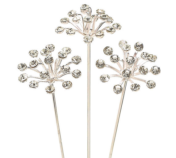 "Mariage - Set of 3ct. Flower Burst 3-1/2"" Gem Stone Crystal Clear Jewel Corsage Pin Picks Floral Decor"