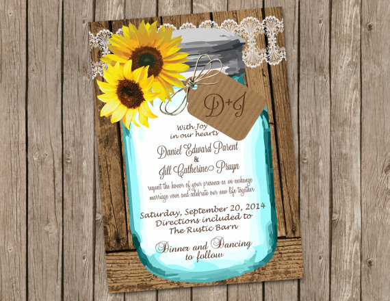 Sunflower Wedding Invitation Shabby Wood Mason Jar Digital File Printable