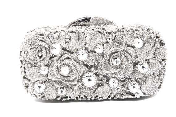 Crystal Bridal Clutch Silver Minaure Evening Bag Wedding Purse
