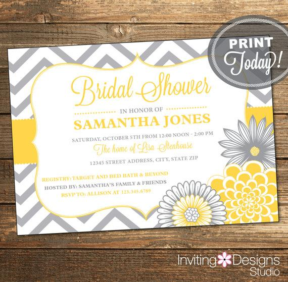 Свадьба - Printable Wedding Shower Invitation, Bridal Shower Invitation, Chevron, Floral, Yellow, Gray, Printable (Custom Order, INSTANT DOWNLOAD)