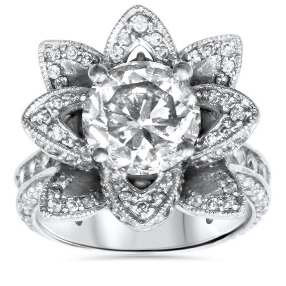 زفاف - 4.00Ct Diamond Floral Vintage Antique Style Engagement Ring 14K white Gold