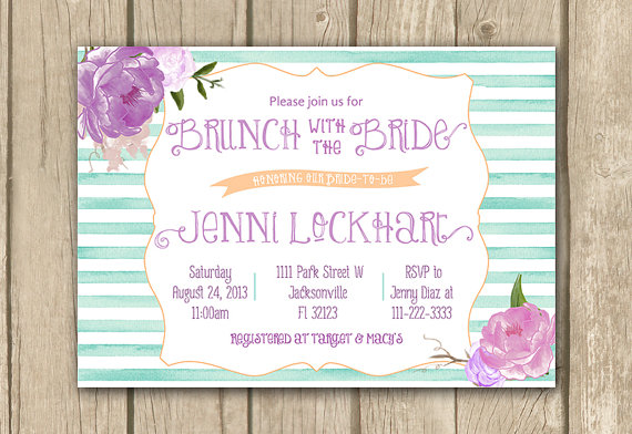 printable bridal shower invitation lilac mauve purple teal aqua bridal brunch brunch with the bride invite stripes digital invitation