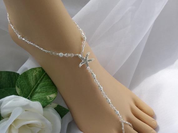 Mariage - FREE US SHIPPING Pearl & Silver Bridal  Barefoot Sandal  Beach Wedding Bridal Foot Jewelry Bridal Starfish Jewelry