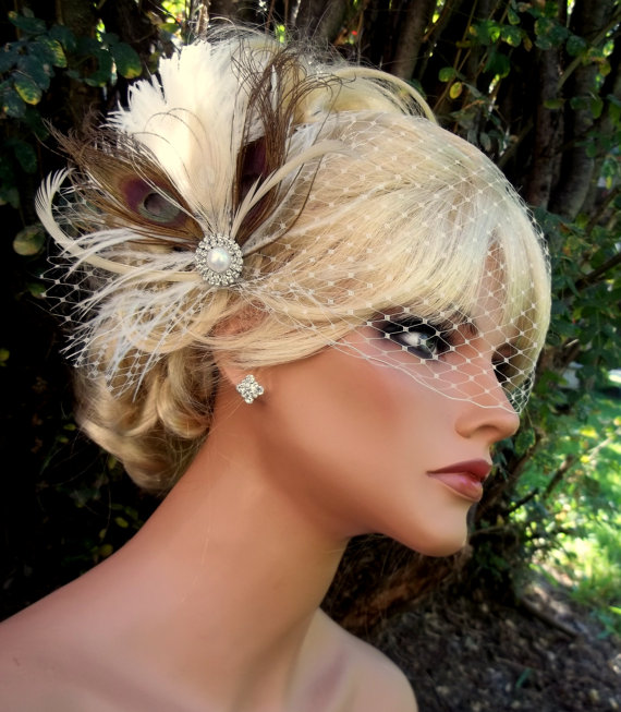 Hochzeit - Ivory dark champagne bridal hair fascinator and french net bandeau bridal veil, vintage style brooch, feather fascinator -ship ready OOAK