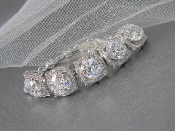 Mariage - Bridal Bracelet, Square cut Bridal Jewelry, Crystal Wedding Bracelet, Swarovski, Adrienne Crystal Bridal Bracelet