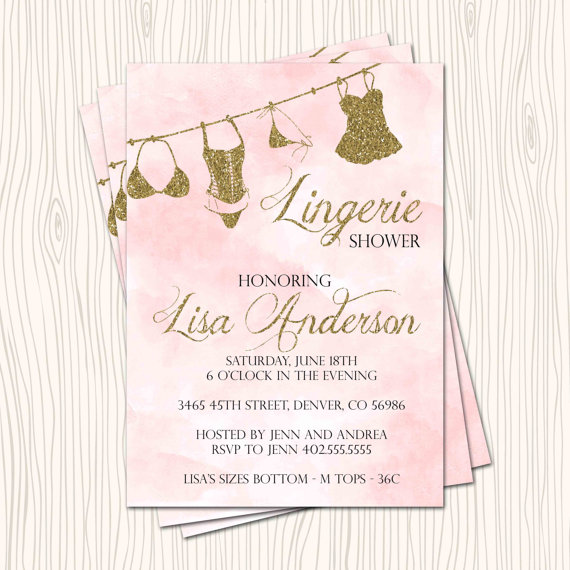 Mariage - Lingerie Shower Pink Blush Rose Silver / Gold Glitter  Wedding Bridal Shower Bachelorette Party Invitation Card - Any Color