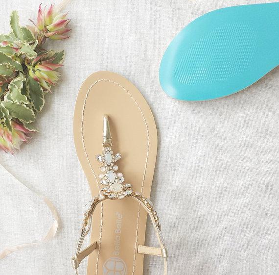 Свадьба - Something Blue Sole Wedding Shoes Sandals with gold Jewel Crystal Destination Beach Wedding