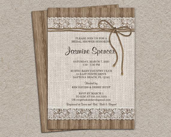 زفاف - Rustic Bridal Shower Invitation, Burlap And Lace Bridal Shower Invitation, DIY Printable Rustic Wedding Shower Invitation With Burlap & Lace