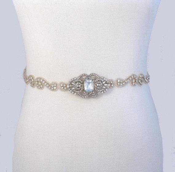 35 satin colors wedding dress belt jeweled beaded bridal for Wedding dress bling belts