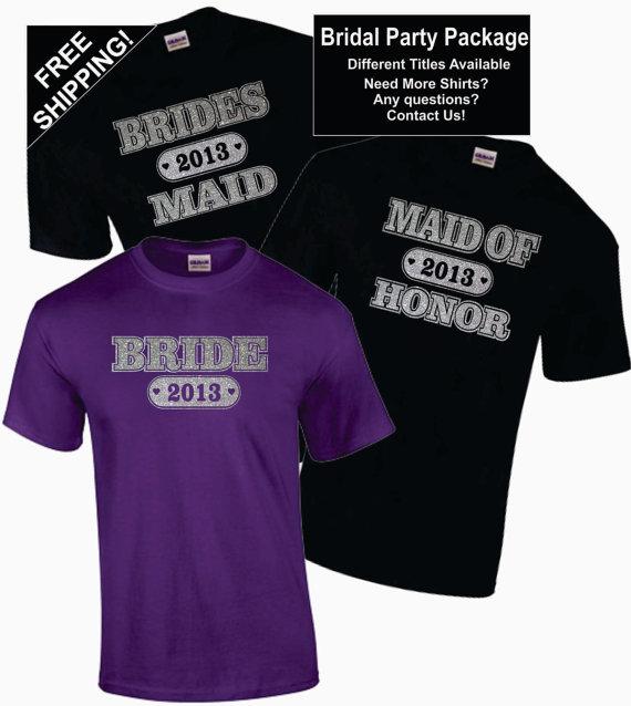 Mariage - 4 - BRIDAL / BACHELORETTE PARTY Shirts Package (Lot of 4 Shirts) Wedding Customized / Personalized T-Shirts - Glitter Free Shipping