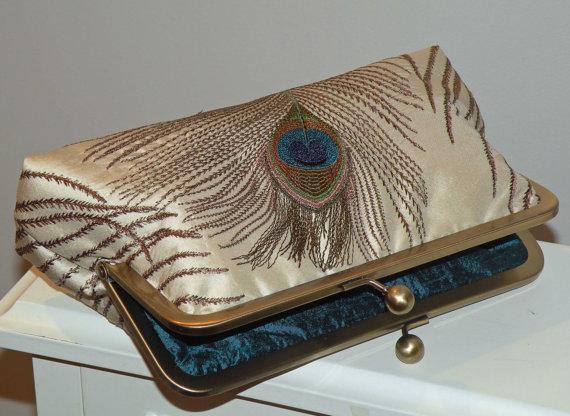 زفاف - Peacock Feathers Silk Clutch/Purse/Bag/Bridesmaid..Ivory..Something New Bridal Blue..Long Island Bride Wedding Handmade Gift..Free Monogram