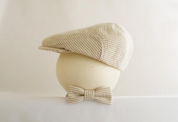 Wedding - Khaki seersucker flat cap and bow tie set, Spring baby prop hat set, country wedding ring bearer hat - made to order