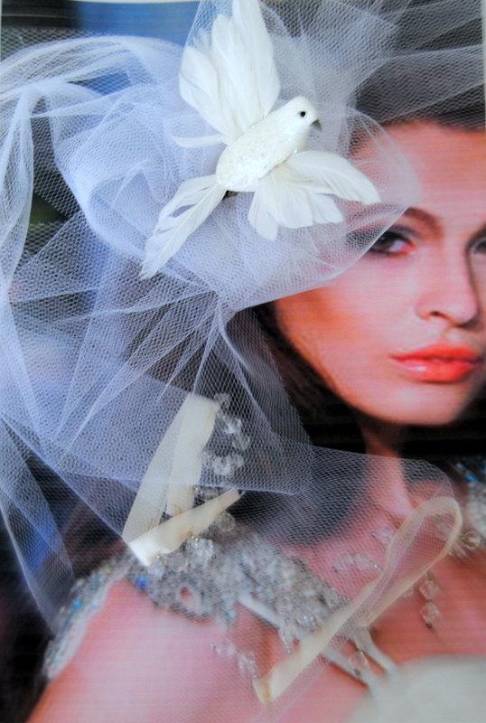 زفاف - Sex and the city Wedding Headpiece Bridal Veil Hairpiece Origami Bird Fascinator Millinery Headdress White Spring