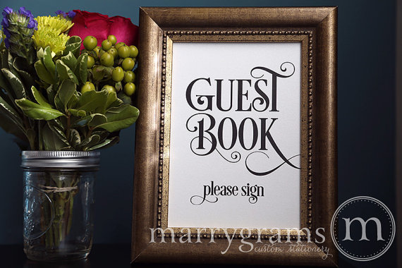 Свадьба - Guest Book Table Card Sign - Please Sign - Wedding Reception Seating Signage -Vintage Glam, Old Hollywood -Matching Numbers Available - SS06