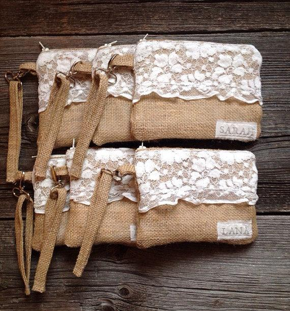 6 Burlap And Lace Wristlets Personalized Clutches Bridesmaid Gift Rustic Wedding Clutch Wristlet You Choose The Lining