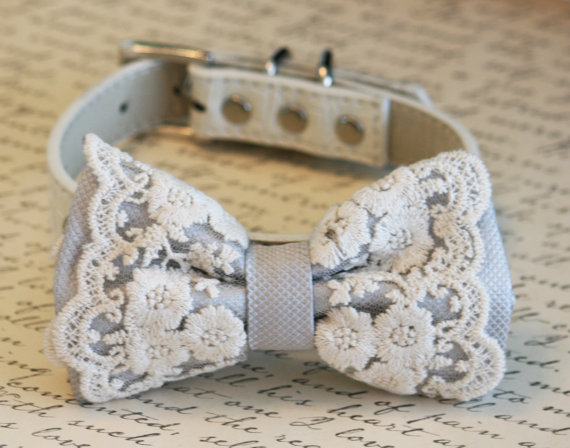 Свадьба - Lace Silver Dog Bow Tie, Vintage Wedding, Pet wedding accessory, Vintage wedding idea,Wedding accessory, boho wedding, Victorian wedding