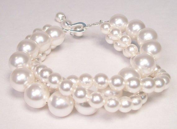 Wedding - White Pearl Twisted Bracelet, Bridal, 3 Strand, Chunky wedding bauble jewelry, diamond white, soft white, larger pearls, bridesmaid