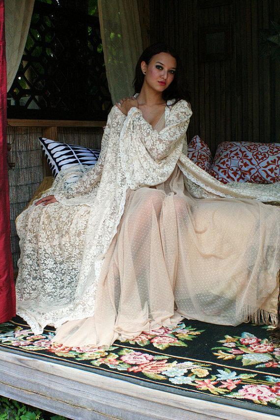 Свадьба - Bridal Robe Wedding Lingerie Ivory Lace Robe Bridal Sleepwear Angel Sleeve Boudoir Trousseau Sarafina Dreams Bridal