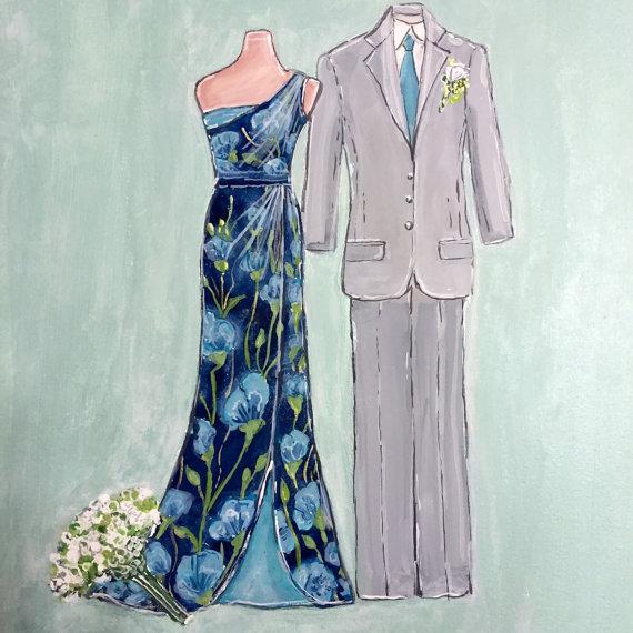 Wedding Dress Sketch, Custom Bridal Gown Illustration, Wedding ...