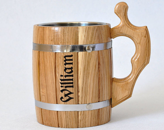 personalized wooden mug 0 65 l 22oz groomsmen gift mug