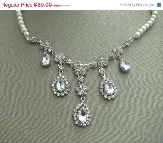 Hochzeit - Bridal Zirconia Set, Bridal Drop Necklace Earrings Set, Rhinestone Wedding Set, Wedding Jewelry, Bridal Rhinestone Pearl Set