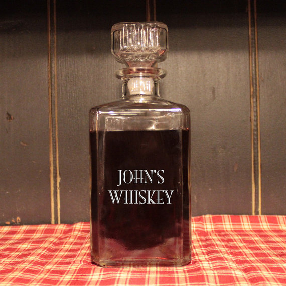 Man Cave Valentines Gift : Personalized glass whiskey decanter engraved barware
