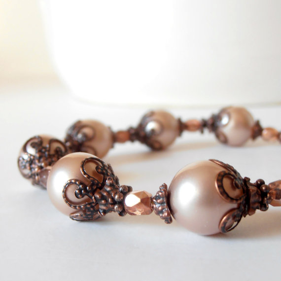 زفاف - Bridesmaid Bracelets Blush Pink Pearl Rustic Wedding Beaded Jewelry Bridal Sets Antiqued Copper Vintage Style Bridesmaid Gift Idea Handmade